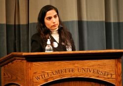 Malalai Joya speaking in Willamette University