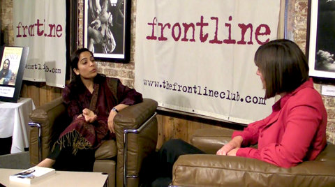 Malalai Joya at London's Frontline Club with Sue Turton